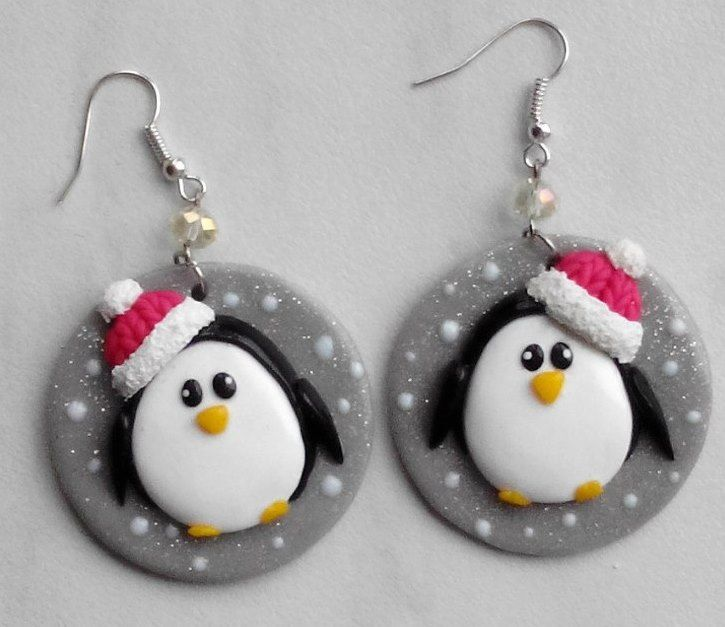 Polymer Clay Penguin Earrings by Пластика ФИМО