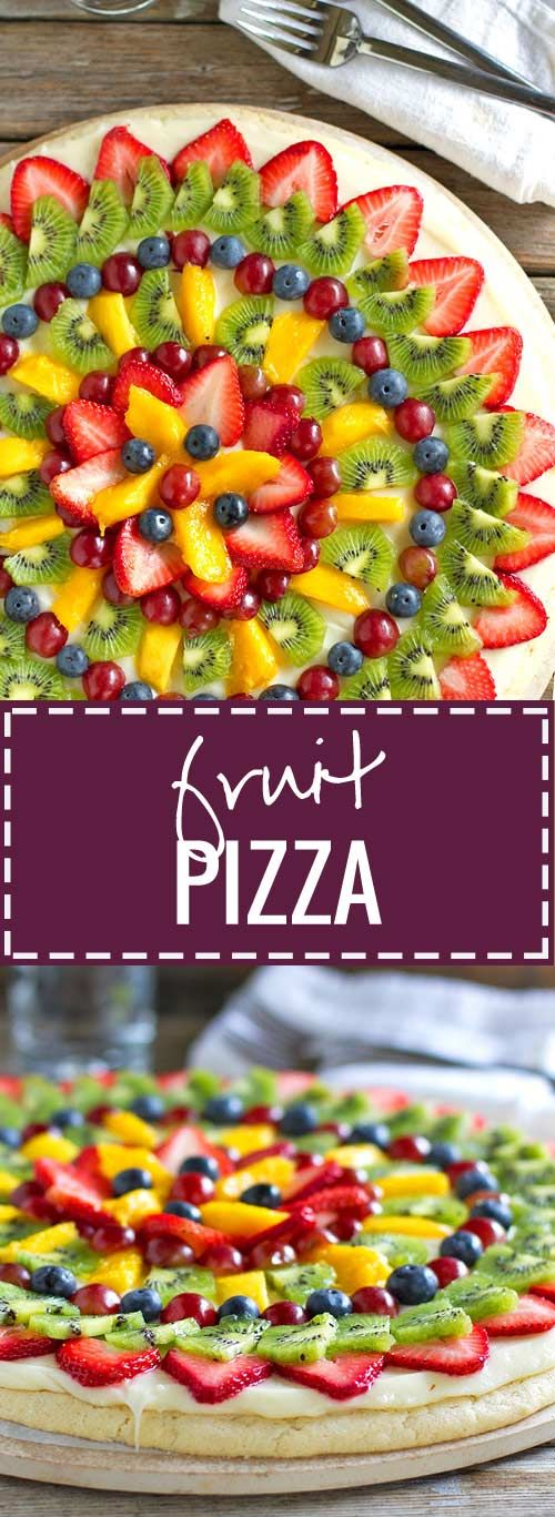 This simple fruit pizza is beautiful and delicious! A soft sugar cookie crust with a cream cheese frosting and topped with sliced fruit.