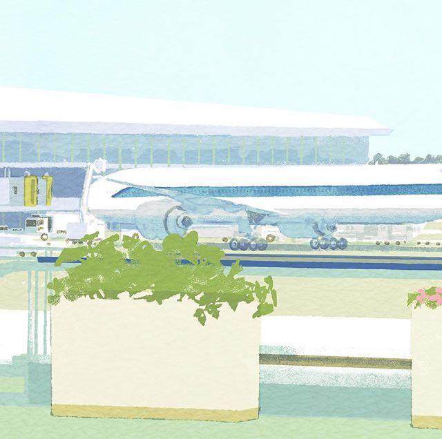 WIP #illustration #painting #tatsurokiuchi #art #drawing #life #lifestyle #happy #japan #people #木内達朗 #イラスト #イラストレーション #airplane #airport