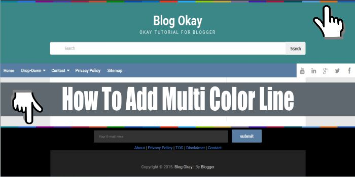 How To Add Multi Color Line Above Header and Above Footer