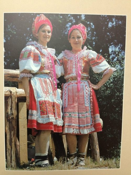 "Folk costumes from village Heľpa (Horehronie region, Central Slovakia) as we know then nowaday are the most ""modern"" folk costumes in Slovakia, since they were developed even during second half of 20th century. Embroideries are machine-made and colors are unusual - bright pink, light pink and pink in general."