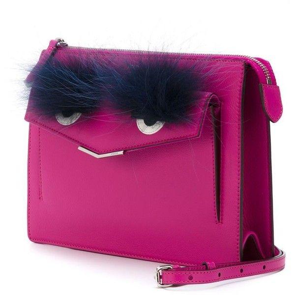 Fendi 'Demi Jour' Bag Bugs shoulder bag (1,567 CAD) ❤ liked on Polyvore featuring bags, handbags, shoulder bags, envelope clutch, envelope clutch bag, purple shoulder bag, fendi purses and fendi