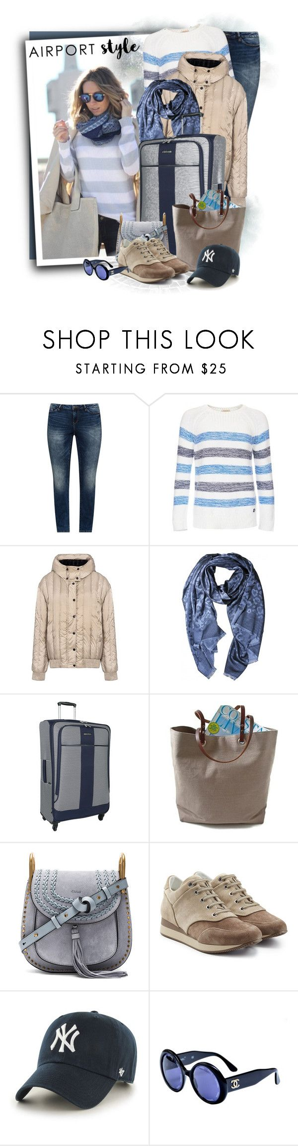 """Spinner - Navy/white - Checked Luggage"" by tasha1973 ❤ liked on Polyvore featuring JunaRose, Barbour, RED Valentino, Nautica, Independent Reign, Chloé, MaxMara, '47 Brand and Chanel"