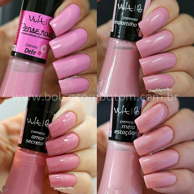 """#mulpix Boa tarde  amores!  """"Dete"""", """"Espartilho"""", """"Amor Secreto"""" ou """"Meia Estação""""?! Qual  desses rosas suaves e incríveis  da Vult , vocês  preferem?! Todos?  Claro ou Com Certeza?!  @vult_cosmetica   #EsmalteVult   #unhasdaAndy   #blogbolsacombatom   #bolsacombatom   #blogueira  #blogueirasRJ   #blogger  #instablogger  #esmalteslindos  #corde2016   #cordoano"""
