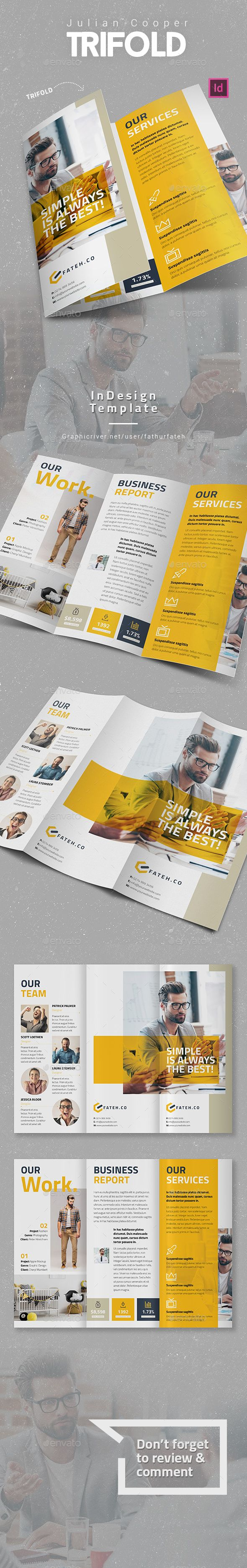 Julian Cooper Trifold  — InDesign Template #inspiration #clean #brochure • Download ➝ https://graphicriver.net/item/julian-cooper-trifold/18620972?ref=pxcr