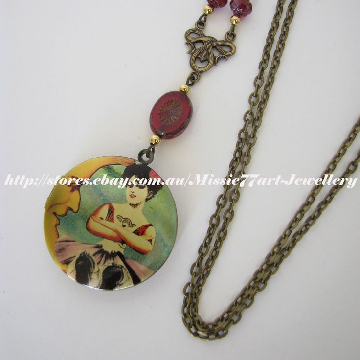 """Vintage Inspired """"Girl in the Moon"""" Locket Necklace with Glass Beads - Gift Boxed by Missie77art Jewellery on ebay"""