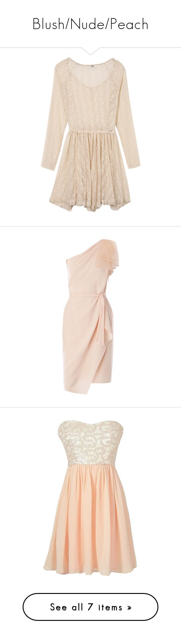 """""""Blush/Nude/Peach"""" by whims-and-craze ❤ liked on Polyvore featuring dresses, lace dress, long sleeve mini dress, pink lace dress, pink long sleeve dress, short lace dress, vestidos, vestiti, pink and maxmara"""