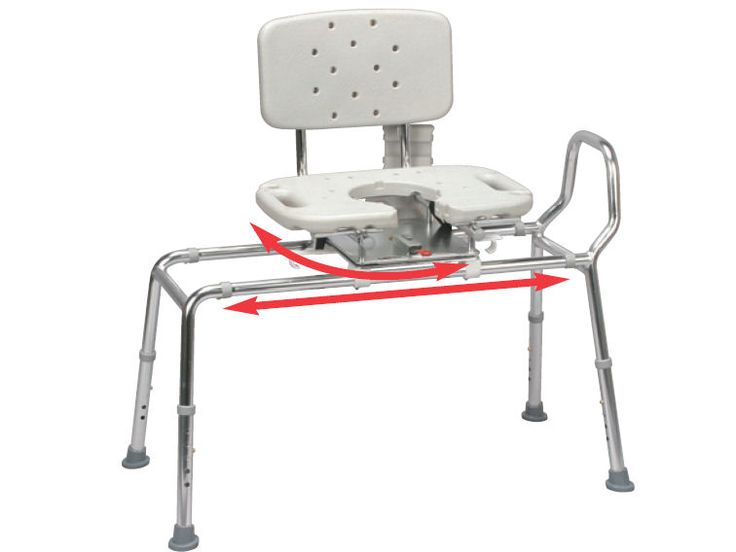 Snap N Save Sliding Shower Chair Bath Transfer Bench W Cut Out Swivel Seat 37663 Handicap