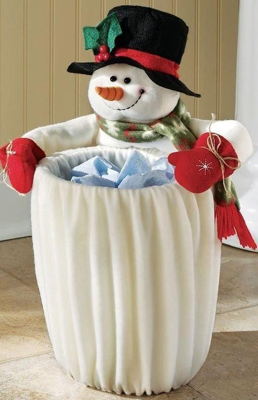 2013 Christmas Snowman Garbage Can Top 9 Ways To Decorate Your Bathroom See More At