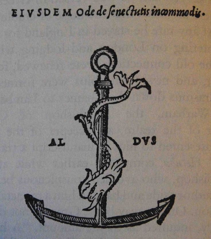 The symbol of Aldus Manutius' press in Venice, where a number of books by Erasmus were published