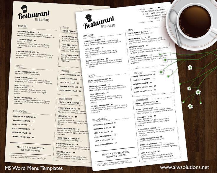 Food Menu Templates, Printable Restaurant Menu Template, Elegant - a la carte menu template