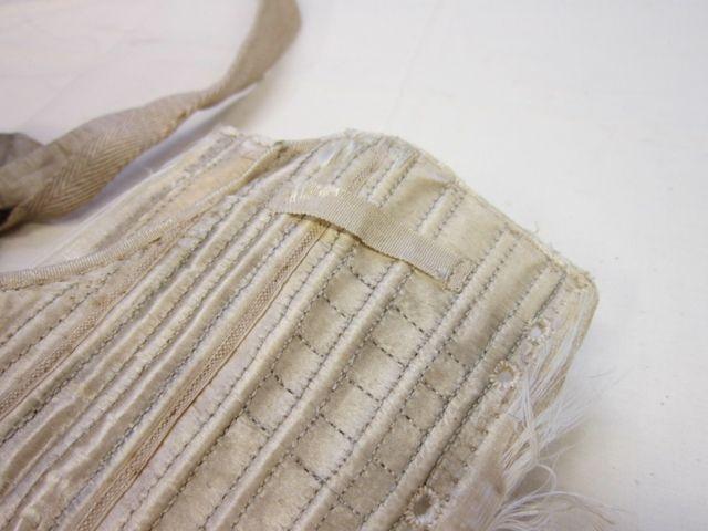 Scandalous Liberty, cream silk satin stays, detail