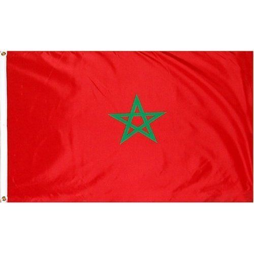 Morocco Flag Polyester 3 ft. x 5 ft. by SHOPZEUS. $5.23. Pole Hem & Fringe. Indoor Lt. Weight. This 3x5 foot Morocco flag is made from light-weight polyester fabric with a pole hem designed to slip over an indoor or parade flagpole. A leather tab is used to attach the flag to the flagpole. Gold fringe is sewn on the top bottom and fly-end of the flag. Imported