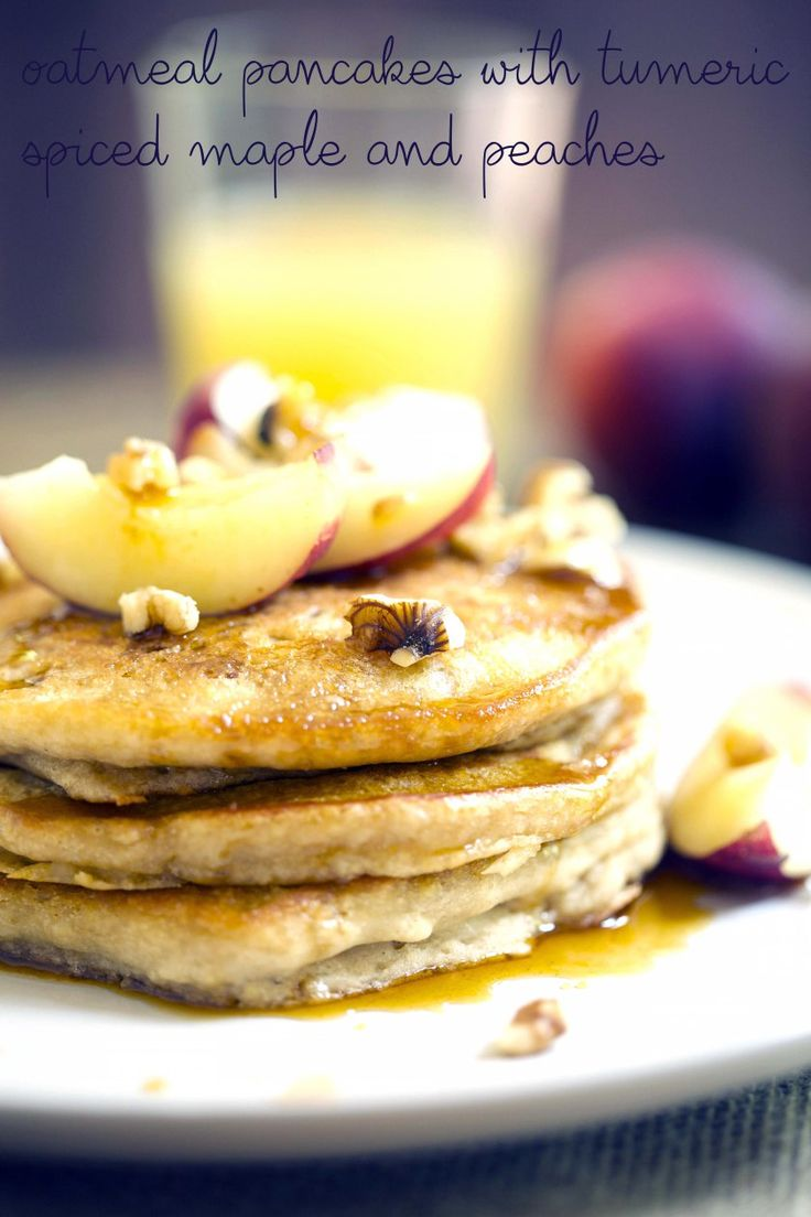 oatmeal and peach pancakes feature