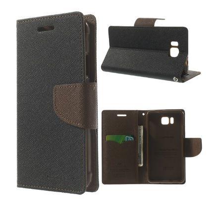 Mercury Case Θήκη Πορτοφόλι Μαύρο (Samsung Galaxy Alpha G850F) - myThiki.gr - Θήκες Κινητών-Αξεσουάρ για Smartphones και Tablets - Χρώμα μαύρο με καφέ δέστρα