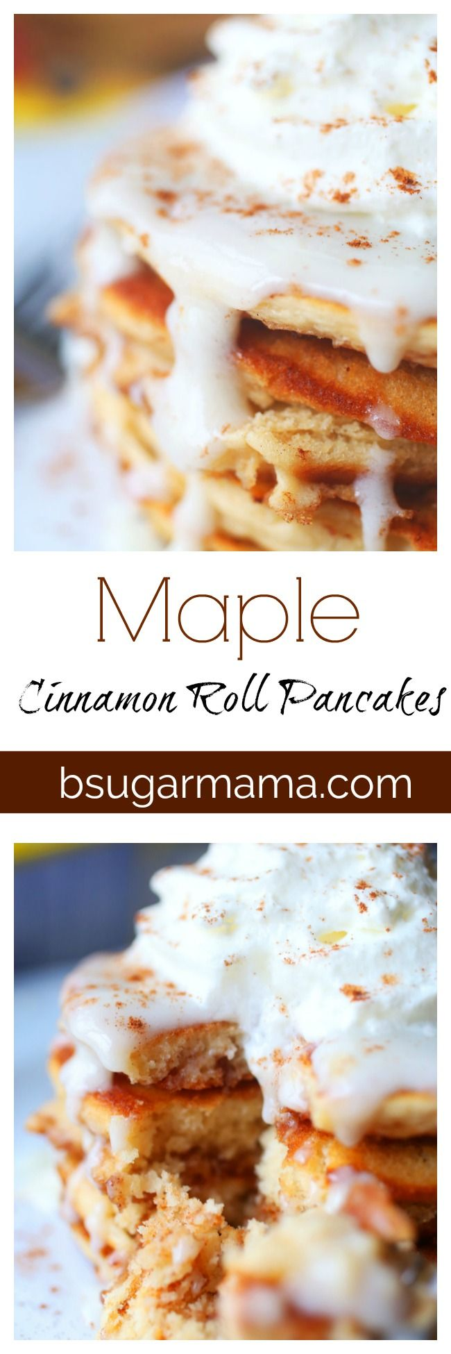 Maple & Cinnamon Roll Pancakes: These pancakes will make you never want to eat pancakes another way. Use Bisquick pancake mix to make these delicious pancakes! Buy Bisquick today at your local @Meijerstores #pancakestar #ad #pancakes #breakfast