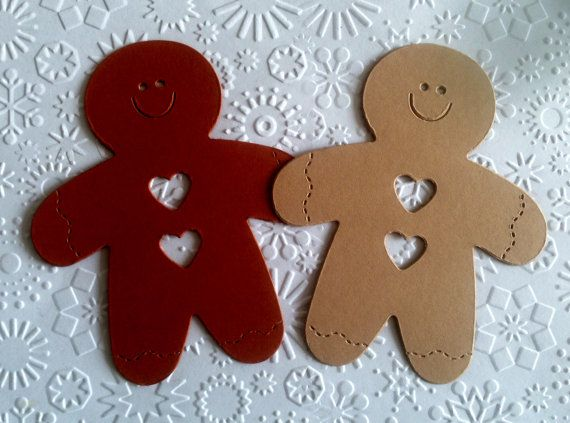 12 Large Gingerbread Men Ginger Bread Die Cuts by Craftycards82