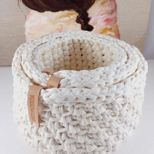 Conjunto de cestas rectangulares de trapillo   SANTA PAZIENZIA