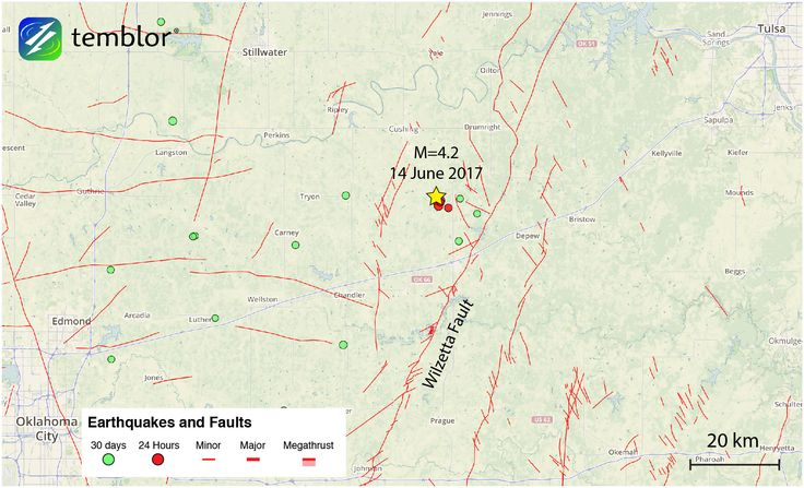 By David Jacobson, Temblor   See earthquakes in Oklahoma   Shaking from today's M=4.2 earthquake was widely felt in Oklahoma's capital of Oklahoma City.      At 8:47 a.m. local time this morning, a M=4.2 earthquake struck central Oklahoma in between the cities of Oklahoma City, Tulsa, and Stillwater. This was followed by five aftershocks, the largest of which was a M=3.8. At 10 a.m. local time, there have been over 1,500 felt reports from the mainshock on the USGS website, from all over the…