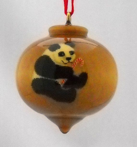 Giant Panda Christmas Ornament, Hand Painted Wood Ornament, WBO-63