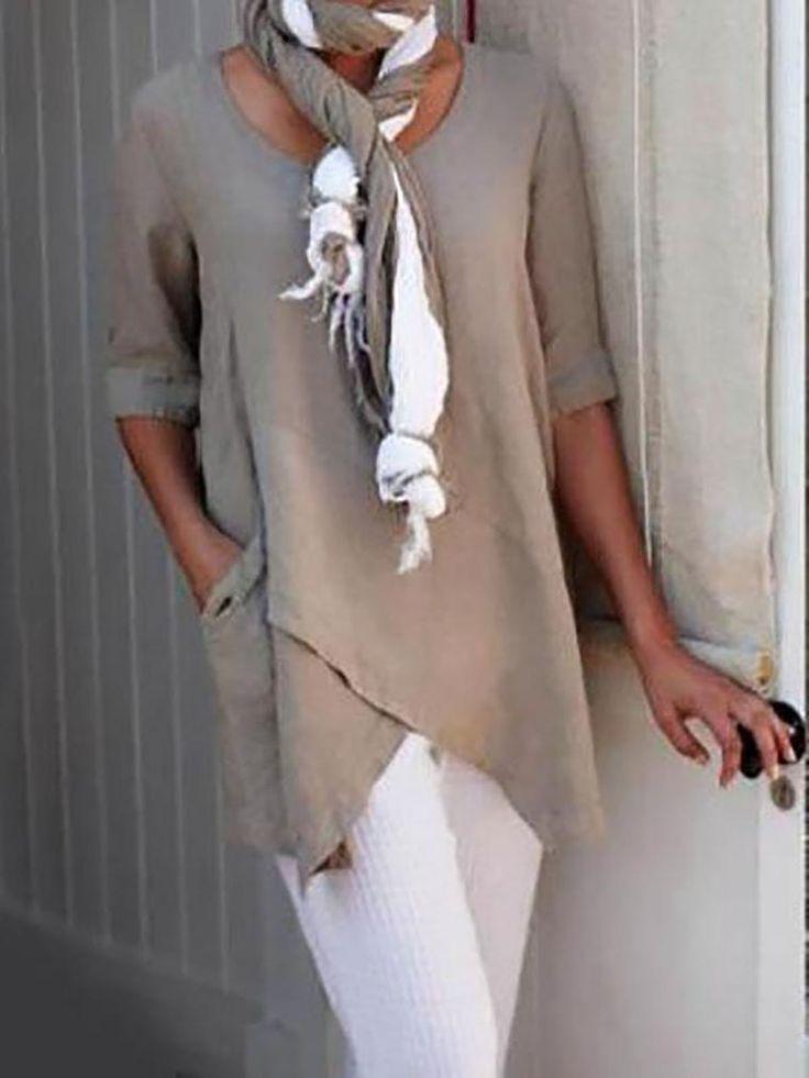 Lässig Unifarben Baumwolle V-Ausschnitt T-Shirt …