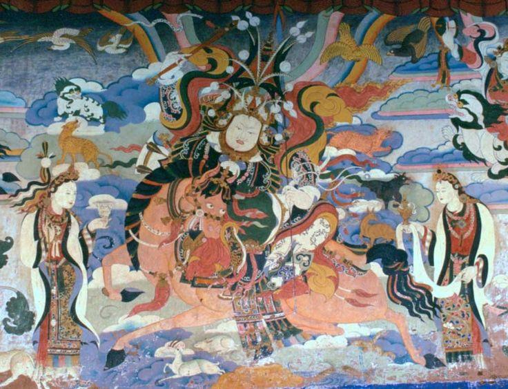 Mural depicting King Gesar of Ling. Gruschke Anonymer tibetischer Maler - Own work/wikipedia