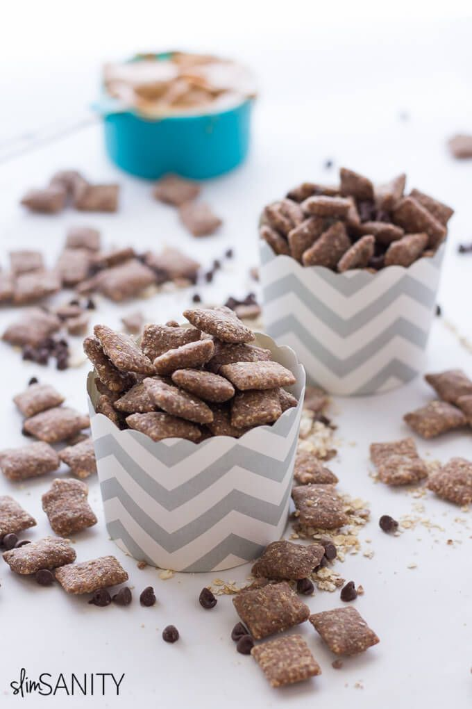 A healthy twist to a favorite childhood treat. This healthier puppy chow recipe makes for a delicious snack for your sweet tooth!   slimsanity.com