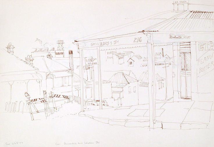 Corner shop, Annandale and Wisdom Street 1977 pen 37 x 54 cm by © Susan Dorothea White