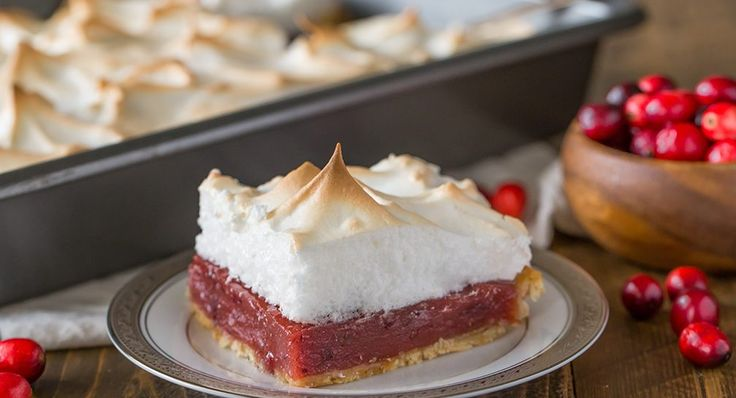 Cranberry Meringue Slab Pie || Finding the perfect balance of sweet and tart flavors, this dessert uses cranberry sauce in the filling and a creamy meringue topping to provide a refreshing finish to any holiday meal. Photo credit: Julie Gransee from Lovely Little Kitchen.