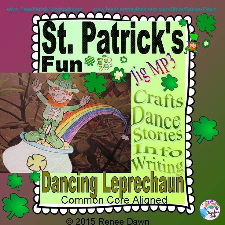 St. Patrick's Day Fun.  Dancing leprechaun puppets, St. Patrick's Day printables, mini-books, shamrock-shaped paper, creative St. Patrick's Day writing prompts AND a rousing Irish Jig MP3 (Dance Instructions Included).