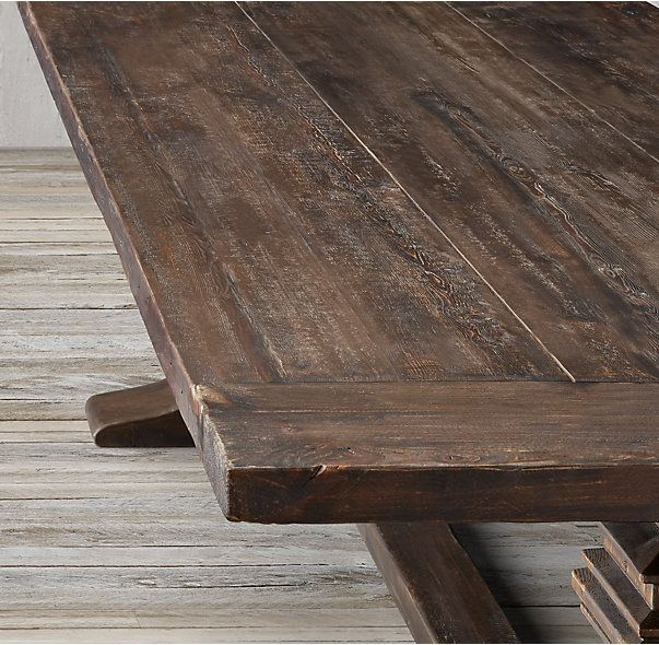 Salvaged Wood Trestle Rectangular Extension Dining Table in Salvaged Brown   Also available in Salvaged Natural. 216 best Dining Tables images on Pinterest   Dining tables  Dining