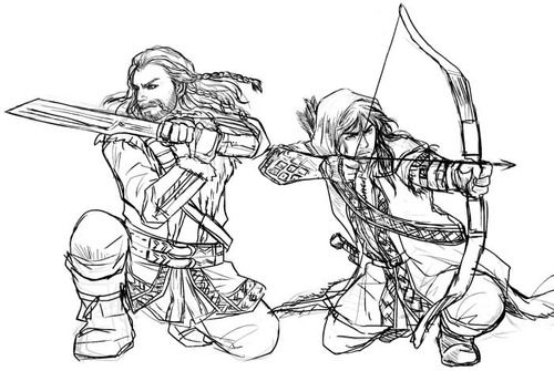 Fili and Kili. (Note to self: Cool archer pose. Draw.) More