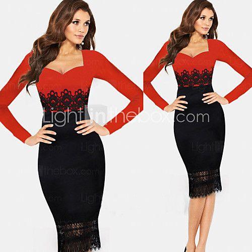 De monta vrouwen lange mouw ronde kraag kanten bodycon slanke jurken   LightInTheBox