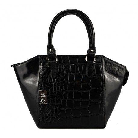 Flot lille dametaske fra The Monte præget sort kalveskind - 50024