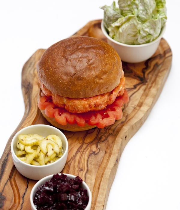 This salmon burger recipe from William Drabble makes a beautiful, summery alternative to the classic beef version. The beetroot chutney and cucumber pickles need to be made ahead of time, but the results are well worth the wait, making perfect pairings to the juicy burger.