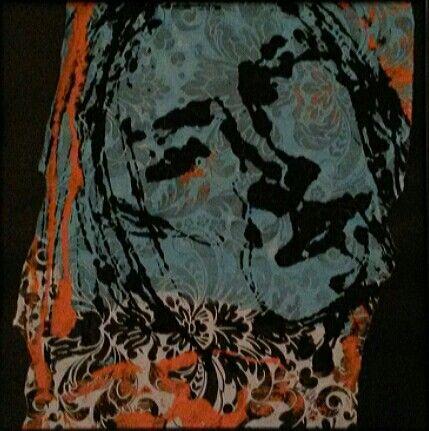 Portret, dubble print on painted wallwaper, 50x50 cm