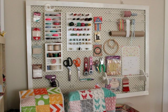 Sew Delicious: My Sewing Space - awesome peg board