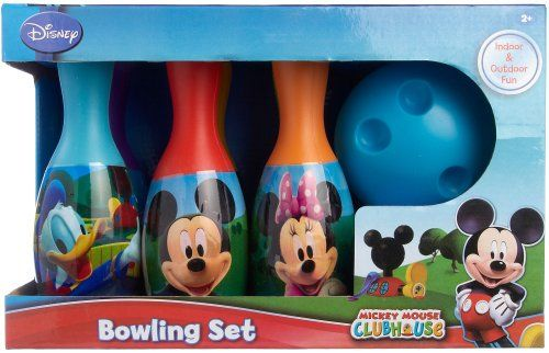 Includes bowling ball and 6 pins with pictures of Mickey Mouse, Donald Duck, Minnie Mouse, Goofy, Pluto and the Mickey Mouse Clubhouse logo.