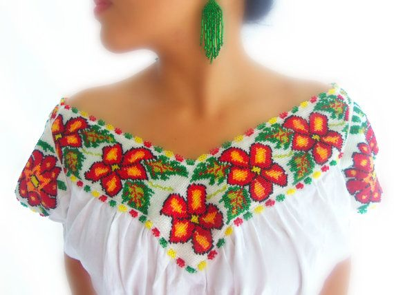 Diosa de la luna maya Handmade Embroidered Chaquira beaded  wedding mexican dress- Perfect neckline and sleeves.