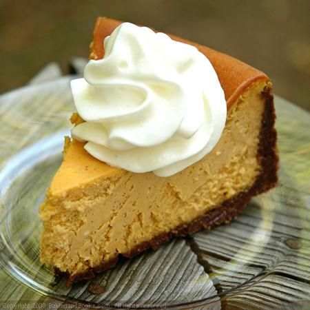 Pumpkin Pie Cheesecake.  Recipe makes enough to fill two-9 inch pie plates or one deep springform pan.