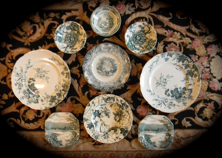 Antique Teal Blue - Green Transferware Plates & 101 best green transferware images on Pinterest | Porcelain Green ...