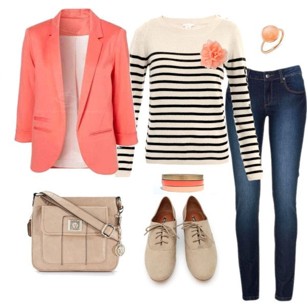 """Coral blazer and stripes and oxfords"""