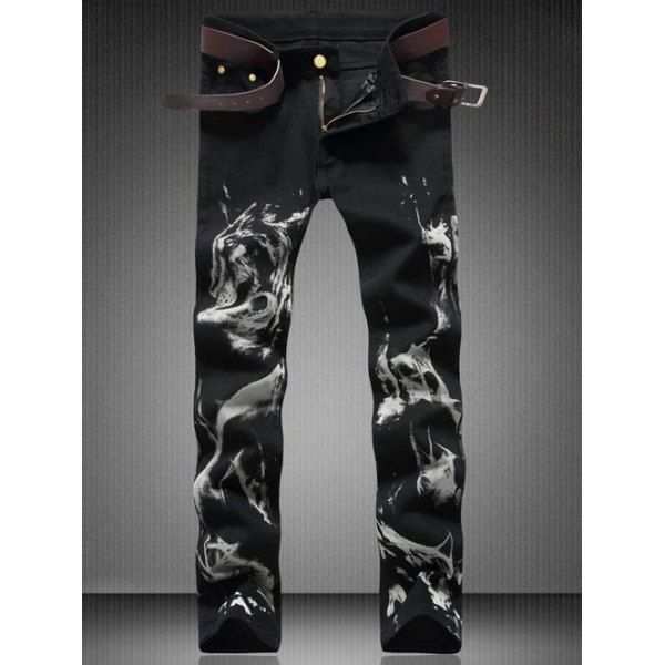 [ $24.41 ] Zipper Fly Straight Leg Wolf Printed Jeans