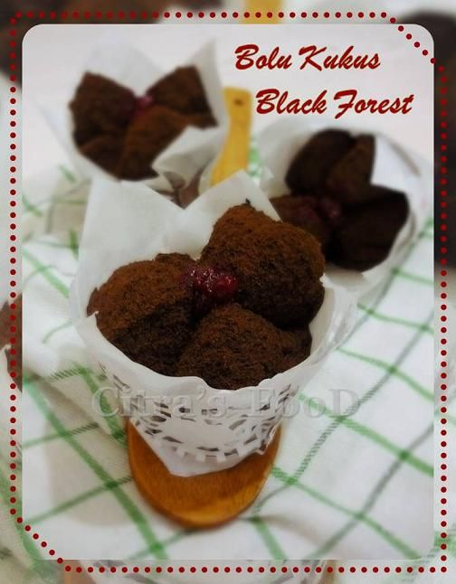 Indonesian Bolu Kukus Black forest with cherry jam inside
