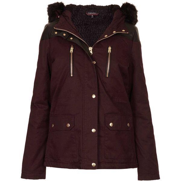 TOPSHOP Fur Trim Short Parka Jacket ($150) ❤ liked on Polyvore featuring outerwear, jackets, coats, coats & jackets, casacos, aubergine, fur trimmed parka, brown parka, topshop and cotton parka