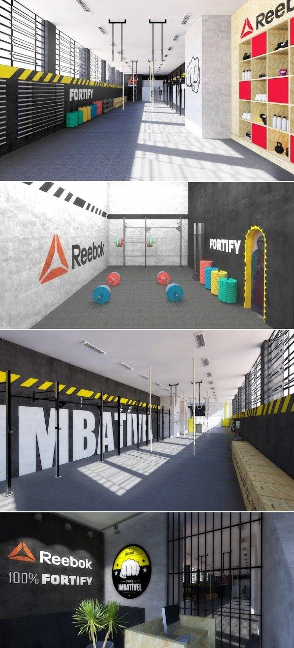 Academia CrossFit Imbatível, Perdizes, São Paulo SP. Projeto para box de CrossFit com piso emborrachado, paredes pintadas de preto, amarelo e cimento queimado. Instalações aparentes. Patrocinada pela Fortify e Reebok.