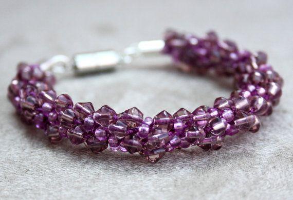 Purple Beaded kumihimo bracelet beadweaving crystals by EmmaEmJD, £15.76
