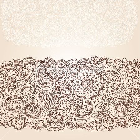 Henna mehndi doodles elementos abstratos floral design paisley, mandala e ilustração em vetor design página canto