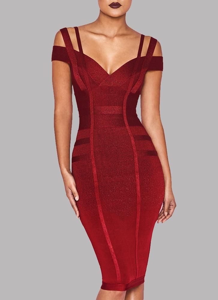 e03795b0bd Chanel Off Shoulder Bandage Dress- Maroon in 2019