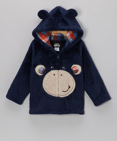 Take a look at this Dark Blue Monkey Plush Hooded Jacket - Infant & Toddler by Boys Rock on #zulily today!